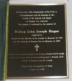 Plaque to Bishop John Joseph Hogan